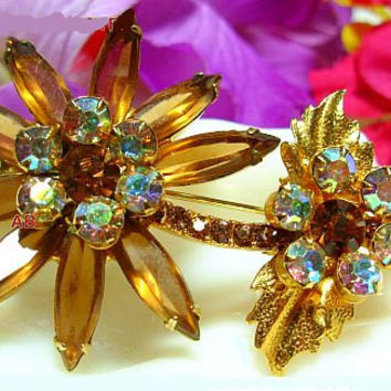 "Juliana D & E Brooch Pin Vanilla Topaz Ab Rhinestones Flower Design Gold Metal 2.5"" Vintage"