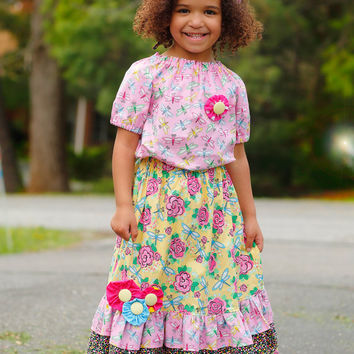 Pretty Girls Maxi Outfit, Little Girls Dresses,Girls Long Dress, Birthday Outfit,  Girls Peasant Top, Toddler Dress, sizes  2T 3 4 5 6 7 8