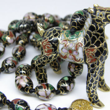 """Vintage Chinese Export Black Cloisonne Petite Oval Beads Hand Knotted 30"""" Necklace Horse Pendant"""