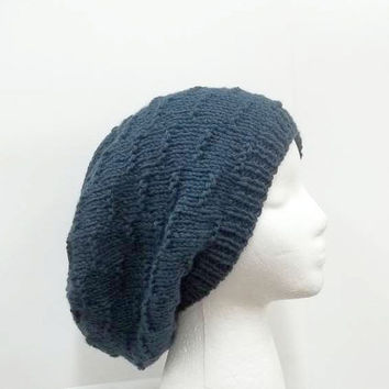 Knitted oversized beanie, denim blue color, slouch hat  5162
