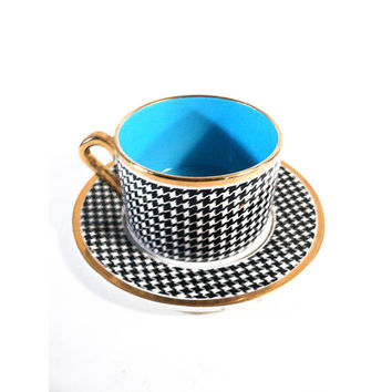 Large French Houndstooth Cup of Tea & Saucer, Salins Pralognan, Collectable Vintage Black White Blue Café au lait Bowl