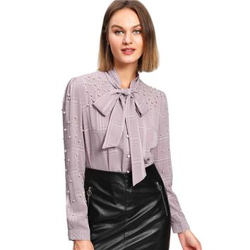 Women  Pearl Tie Neck Shirt Elegant Knot Stand Collar Office Lady