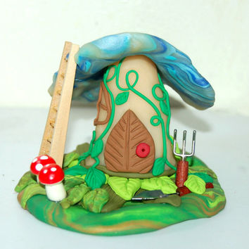 Fairy House, Polymer Fairy Home, Fairy Art, Enchantment Miniature Magical Mushroom Fairy Home