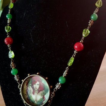 OOAK Poison Ivy Steampunk Comic Necklace