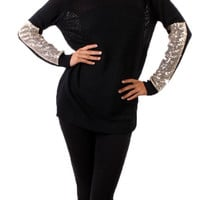 Sparkle and Shine Sequined Sleeved Sweater - Black
