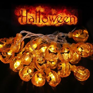 Halloween  decoration party favors Pumpkin Lantern Skull 20 LED String Light Hanging Lamp AC220V or Battery-powered For DIY Home