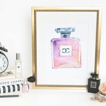 Printable Art Inspirational Print Coco Chanel Poster Coco Chanel Quote Typography Quote Home Decor Motivational Poster WATERCOLOR PERFUME