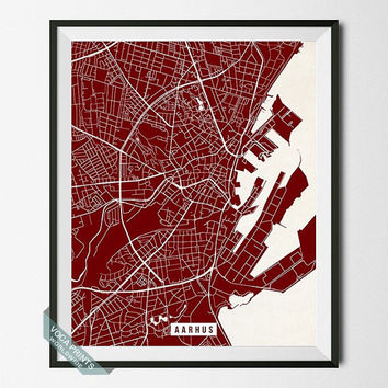 Aarhus Street Map, Denmark Poster, Aarhus Print, Denmark Map Print, Jutland Peninsula, Street Map, Office Art, Dorm Decor, Back To School