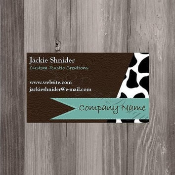 Printable Custom Business Card. Brown, Black, and White Cowhide and Leather Rustic Western Printable Business Cards. Etsy business cards.