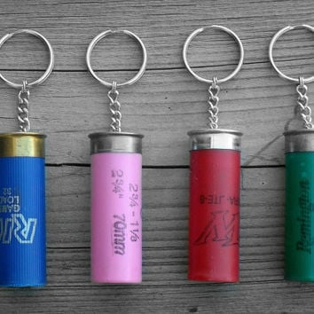 Shotgun Shell Keychain CHOOSE YOUR COLOR Pink Red Blue Green Southern Country Girl Hunter Accessory Outdoors Woman Outdoorsman Gift 12 Gauge