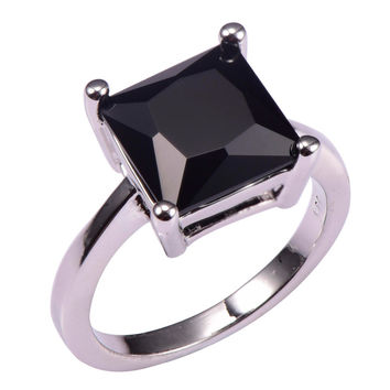 Classic Style Black onyx 925 Sterling Silver Wedding Party Fashion Design Romantic Ring Size 5 6 7 8 9 10 11 12 PR35
