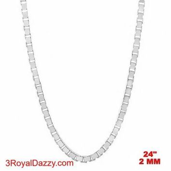 """Italy 14k white gold layered over Solid 925 sterling silver Box Chain - 2 mm 24"""""""