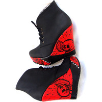 Wild Red Lace Up Vegan Platform Booties Shoes - Spikes & Studs, Punk Rock Style - Custom Painted - One of a kind!