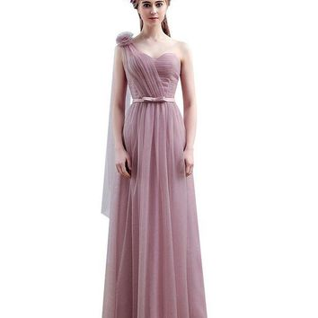 CREYET7 Vestido SSYFashion One Shoulder Floor-length Long Bridesmaid Dresses Birde Simple Formal Party Gown Custom Homecoming Dresses