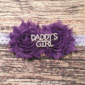 Purple Shabby Daddy's Girl Rhinestone Headband / Baby / Baby Girl / Baby Girl Headband / Headband / Headbands for babies / Infant Headbands