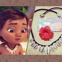 Baby Moana Inspired Set. 1 Necklace &/or 1 Plumeria Flower Perfect For Luau, Birthday Party, Wedding. Moana Set Is Perfect For All Ages