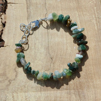 Indian Agate Bracelet ~ Natural Irregular Chip Stones ~ Earth Tones  ~ Semi Precious Stones ~ Bohemian Style ~ Boho ~ Unique Gift