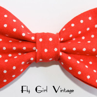 Vintage-1950s-Rockabilly-Style-Hair- Clip-pin up-cute-punk-Fabric-Hair-Bow-Red-White-Polka-Dots- For Women-teens-girls-kids-baby