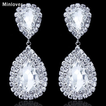New Free Shipping LuxuriousTeardrop Crystal Earrings for Women Large Dangle  Bridal Earrings Wedding Accessories EH003