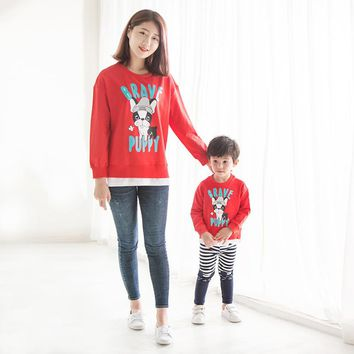 2017 Spring Family Matching Outfits Children Clothing Cartoon Printing Two Pieces of Stitching Boys Girls and Mom Hoodies