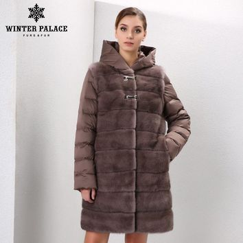 Genuine Leather women fur coat fashion designer  brand fur vest  mink fur coat  Down Jackets mink coat women Detachable sleeves