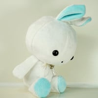Cute Bellzi Stuffed Animal White w/ Teal Contrast Rabbit Plushie Doll - Bunni