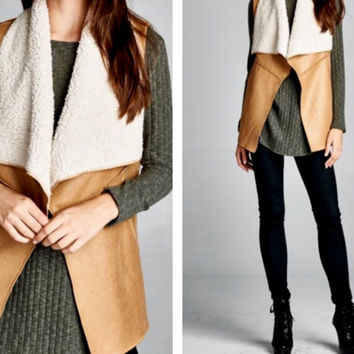Shearling Lined Faux Suede Vest