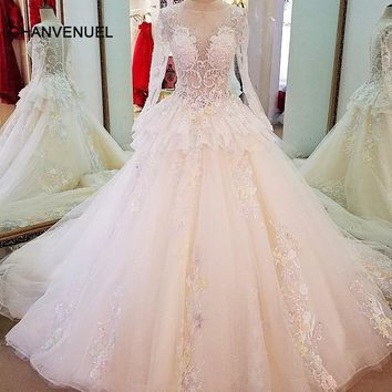 LS61796 long sleeve lace wedding gowns ball gown zipper back colorful lace flowers wedding dresses casamento real photos