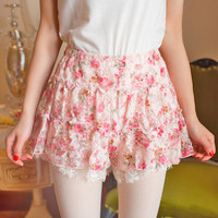 Summer sweety pink floral lace shorts free shipping from HIMI'Store
