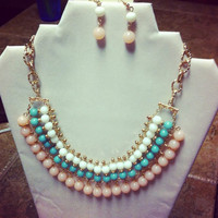 Mint, White,Pink Statement Necklace