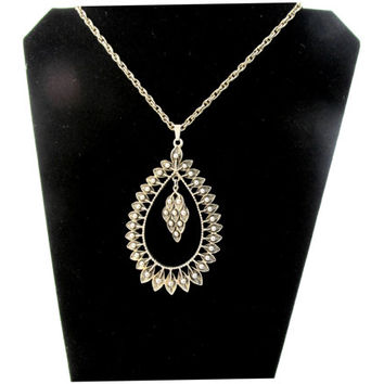 Sara Coventry Large Teardrop Pendant Necklace Signed Sara Silver-tone Classic 1960's Collectible Gift Item 1619