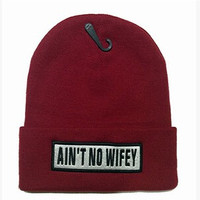 AINT NO WIFEY Beanie Mens & Womens Knitted Hip Hop Ski Cap Wool Warm Winter Wine Red Cuffed Skully Hat