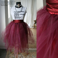Custom Show Dance Puffy Irregular Translucent TuTu Tulle Scarlet Maroon Skirt