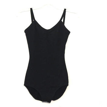 Vintage 80s bodysuit leotard spandex black basic