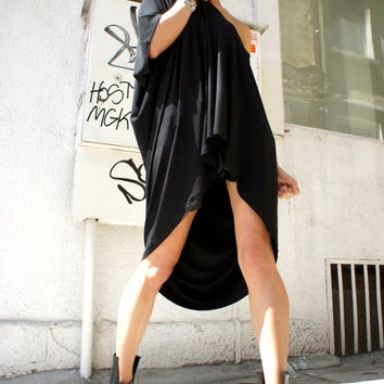 Oversized Loose Extra Large Black Blouse / Asymmetric Tunic Top