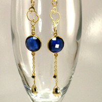 Sapphire Kyanite Quartz Gold Earrings Rain Clouds September birthstone