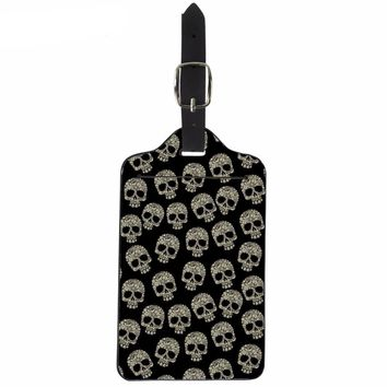 Punk Skull Printing PU Leather Luggage Tags Fashion Suitcase ID Address Holder Travel Accessories Boarding Tag