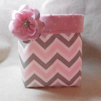 Pink, Gray and White Chevron Fabric Basket With Pink Polka Dot Liner and Detachable Fabric Flower Pin