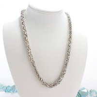 Steel Necklace Silver Stainless Steel Vintage Chainmail Interlocking Link Covered Clasp Necklace Jewelry