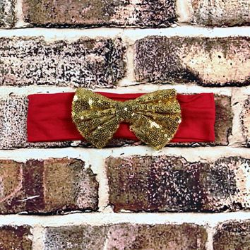 RTS Red Headband w/ Gold Bow