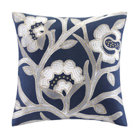 Echo Design™ African Sun Square Pillow W/floral Embroidery|Designer Living