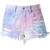 Pastel High Waisted Denim Shorts - Destroyed Cotton Candy
