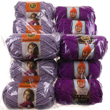 Hometown USA Lion Brand Lot of 12 Skeins Ball Yarn Light Dark Purple Super Bulky