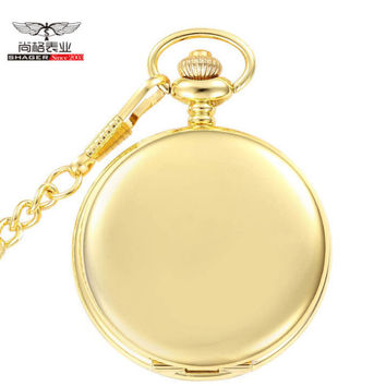 New Gold Mirror Case Mens Analog Quartz Pocket Watch with Chain
