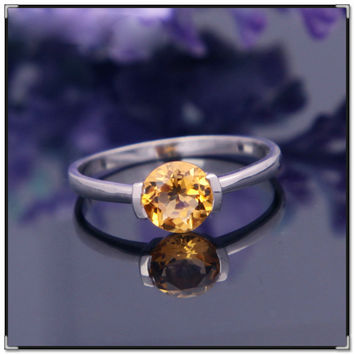 New Fashion Brand jewelry real  925 Solid Sterling Silver ring with high quality natural citrine Vintage ring for woman gift