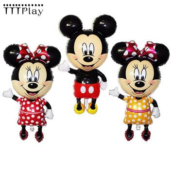 110*64cm Mickey Minnie Mouse Foil Balloons Classic Kids Toys Birthday Party Decoration Supplies Big Size Cartoon Helium Balloons