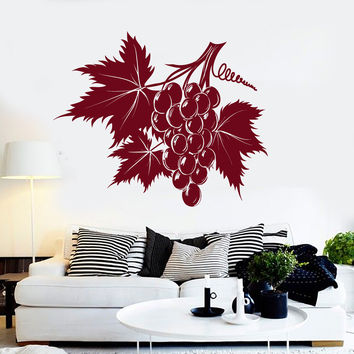 Vinyl Wall Decal Bunch Grapes Leaves Kitchen Stickers Mural Unique Gift (ig4378)