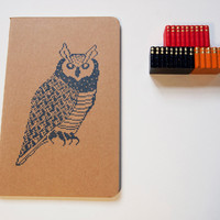 8 Bit Wise Owl Pocket Journal (lined) moleskine student teacher back to school gift