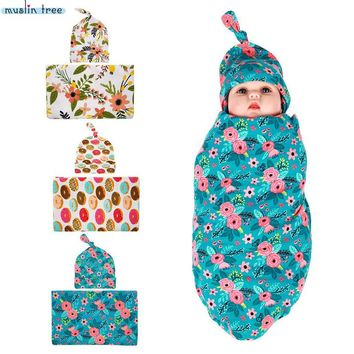 Newborn Swaddle Sack Cocoon Sleep Sack Swaddle Blanket Beanie set Newborn Hat Take Home Outfit Photo Props Baby Shower Gift