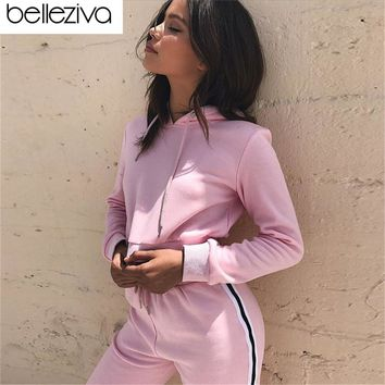 Belleziva Women Yoga Sets Workout Clothes 2pcs Gym Hooded Crop Top With Pants Running Tracksuit Fitness Sport Suit Jogging Set
